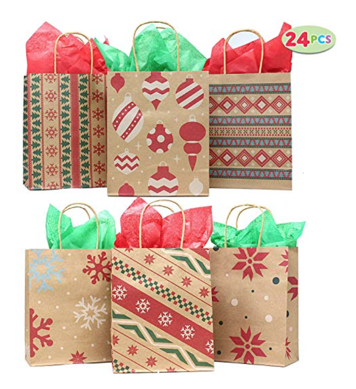 We Searched For The Best Buy On Packaging These Great Gifts And Found It Youll Get 24 Gift Bags With Holiday Paper Included Only 11
