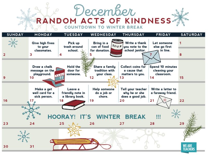 image regarding Random Act of Kindness Printable named Random Functions of Kindness Calendar - Free of charge Printable for the