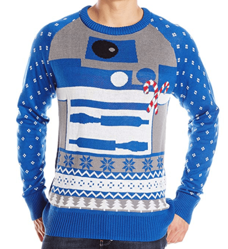 Christmas sweater with a star wars android character.