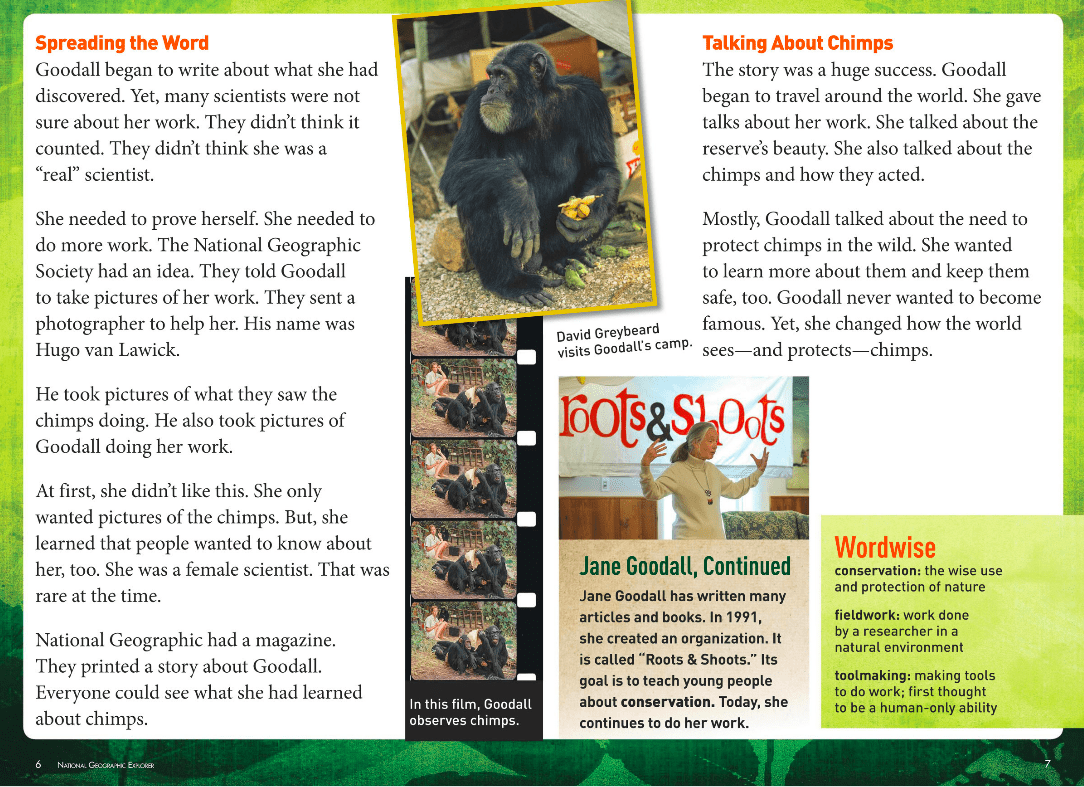 A Screenshot of an Article About Jane Goodall From National Geographic Explorer Pioneer Edition Classroom Magazine