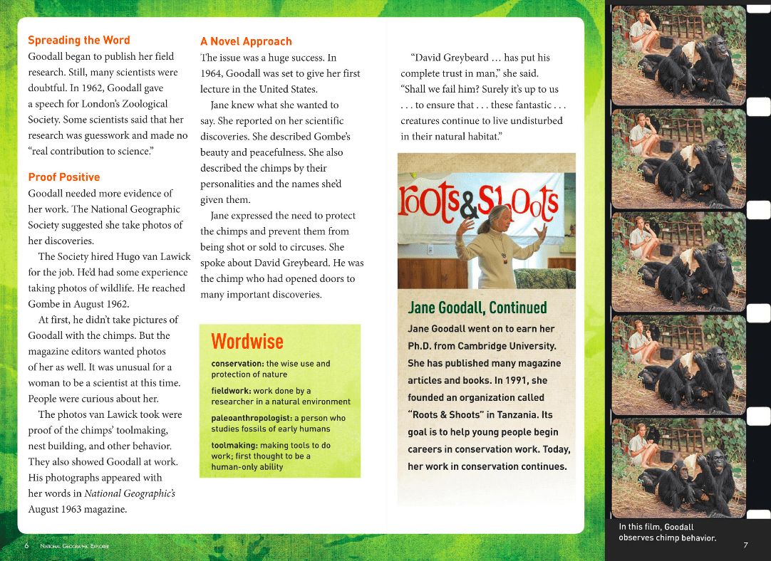 A Screenshot of an Article About Jane Goodall From National Geographic Explorer Trailblazer Edition Classroom Magazine