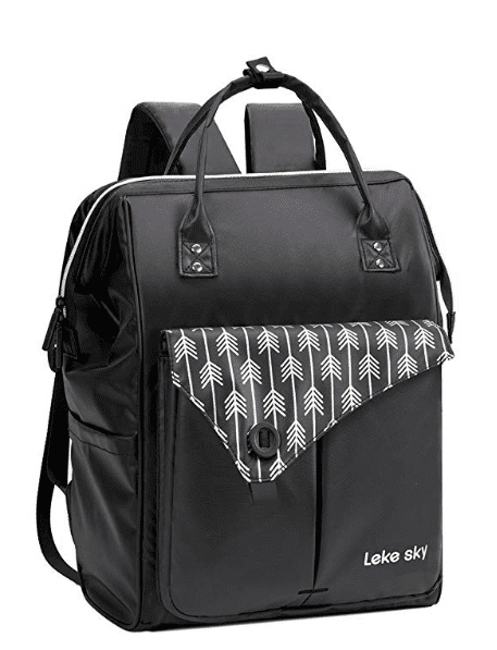 Black leather-look backpack with top handle and patterned front pocket