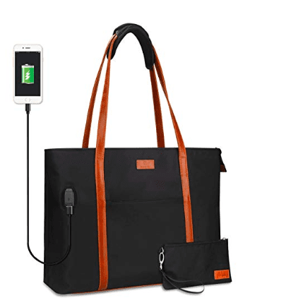 Black tote bag with brown leather handles and external USB connection port (Best Teacher Bags)