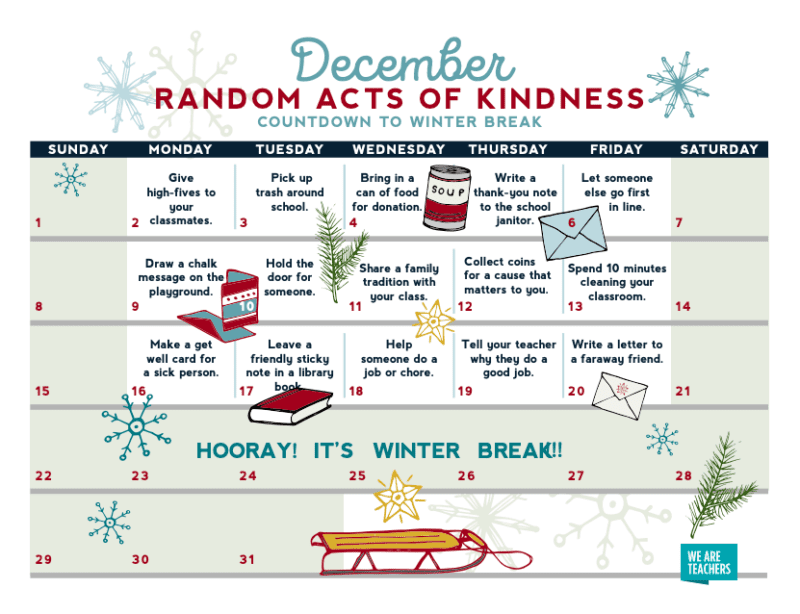 December random acts of kindness calendar.