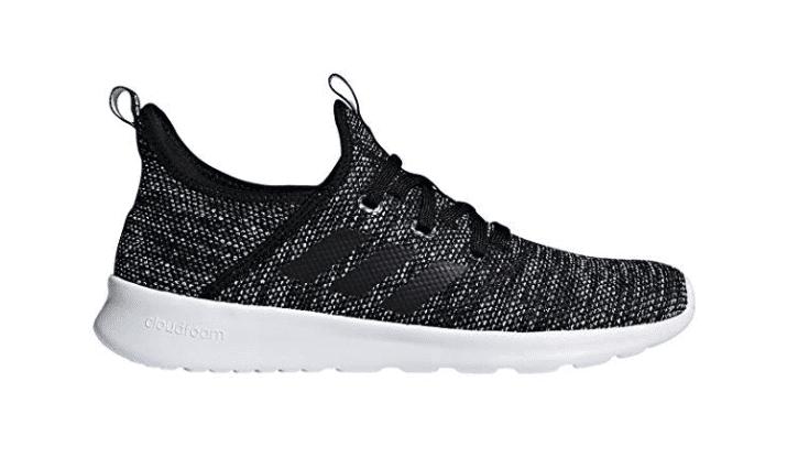 Grey Adidas running shoes.