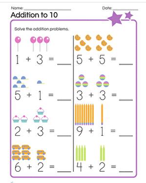 Addition worksheet -- kindergarten websites