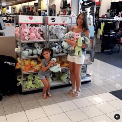 Teacher shopping for stuffed animal