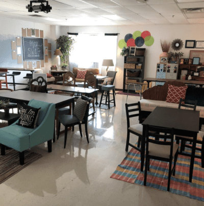 Homey classroom with flexible classroom set-up at back to school.