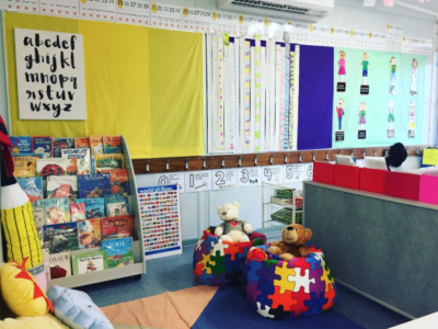 Beautiful classroom library reading corner with bookshelves and beanbag chairs.