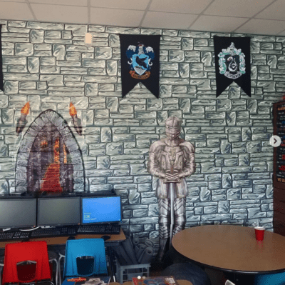 Castle or Harry Potter themed classroom with knight in armor.