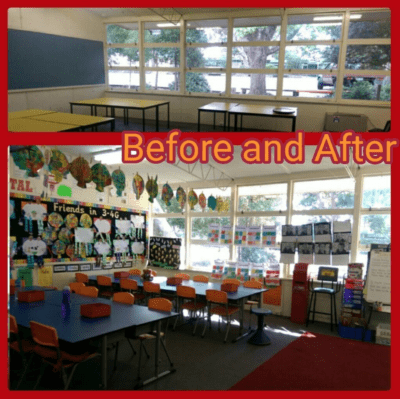 Before and After photos of classroom setup. Before is bare desks, After is a decorated classroom.