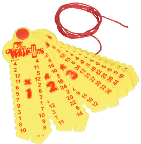 Plastic keys with multiplication problems on them