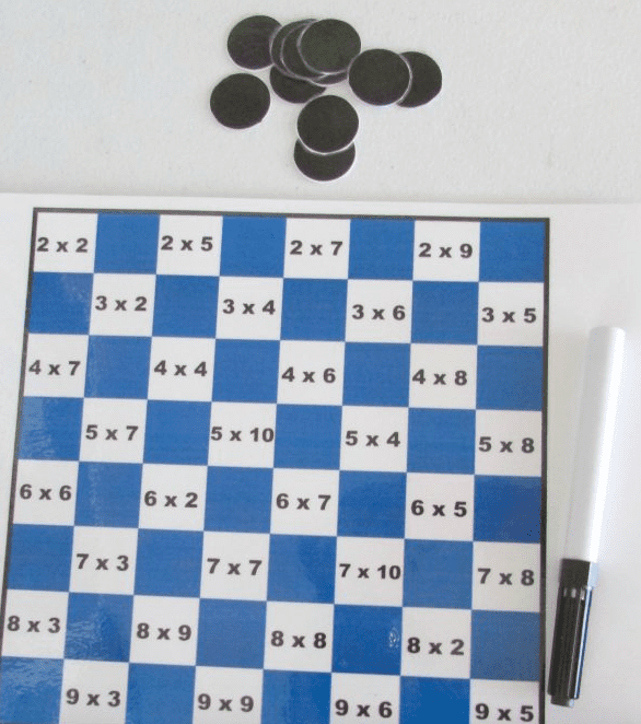 blue and white checkerboard with multiplication problems written in squares