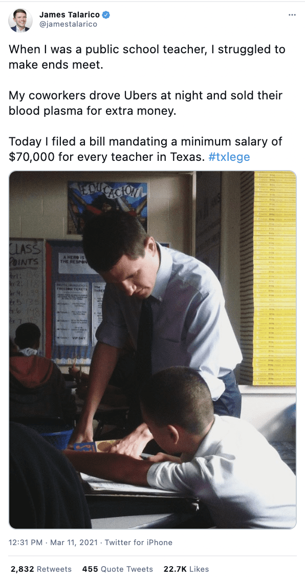 A Tweet with a picture of James Talarico when he was teaching. He filed a bill to mandate a minimum teacher salary of $70K in Texas.