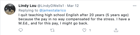 Teacher tweet in response of James Talarico's Bill