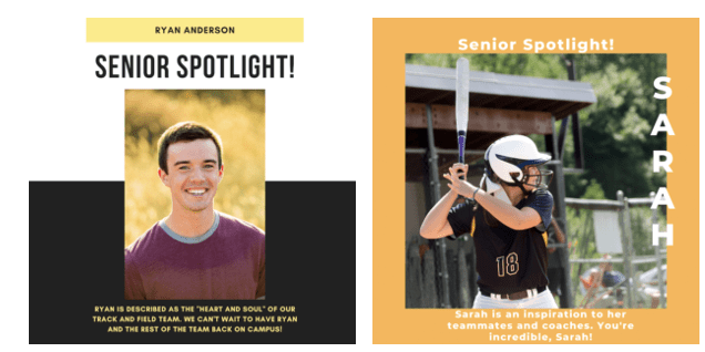 Pictures of seniors being celebrated at a virtual senior night celebration.