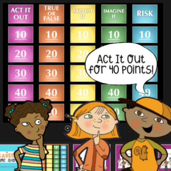 Cartoon drawing of colorful screen with Jeopardy style gameboard behind three students