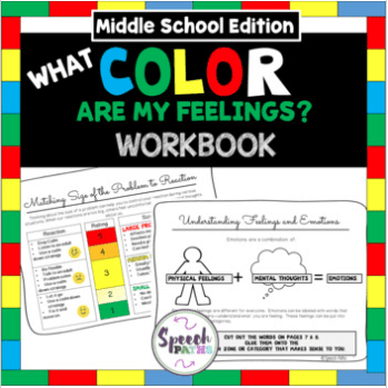 book cover of what color are my feelings workbook for middle school kids