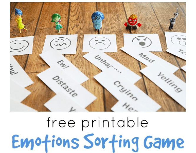 action figures from movie Inside Out next to picture and word cards for emotions sorting game
