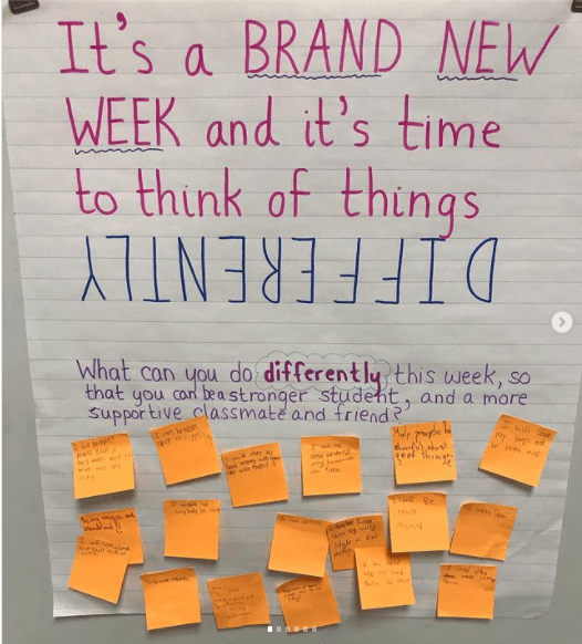 Classroom poster asking What can you do differently to make you a stronger student?