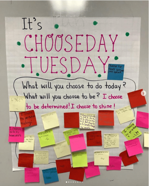 Classroom poster asking kids what will you choose to do and be today?
