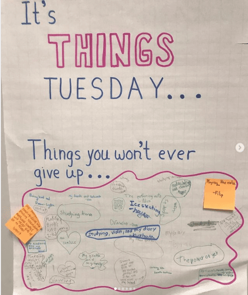 Classroom poster asking students what things they would never give up