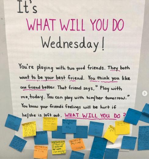 Classroom poster asking students how they would handle a conflict with a friend
