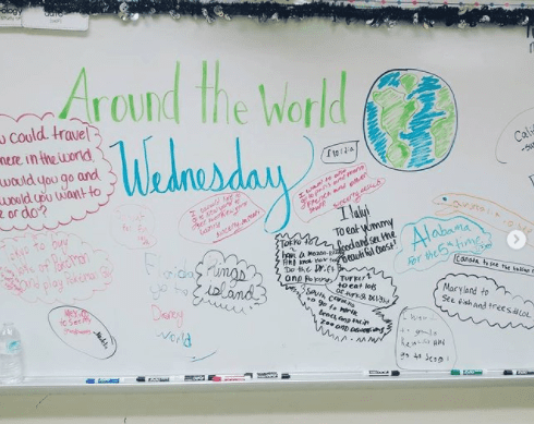 Classroom poster asking students where they would go if they could go anywhere in the world