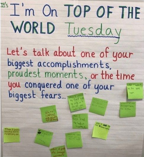 Classroom poster asking kids to describe their biggest accomplishment, proudest moment or a time they conquered a fear