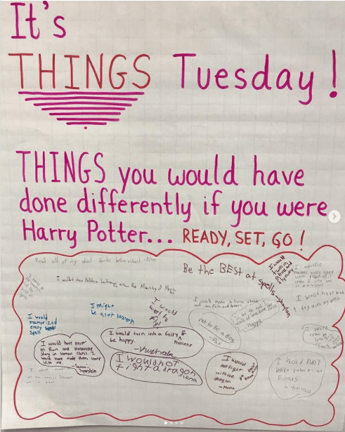 Classroom poster asking kids what they would have done differently if they were Harry Potter