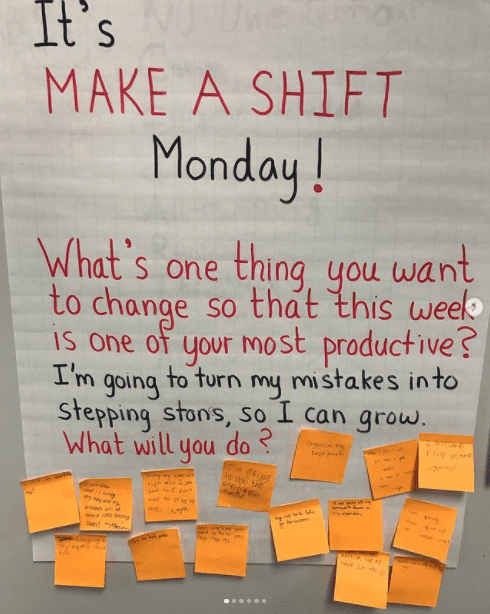 Classroom poster asking kids what is one thing you want to change to make this week productive