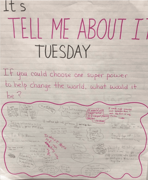 Classroom poster asking kids if they could have one superpower to help change the world, what would it be