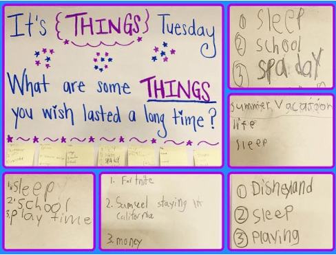 Classroom poster asking kids what are some things you wish lasted a long time