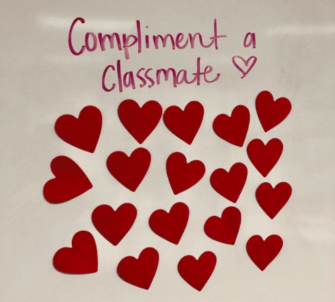 Classroom poster asking kids to compliment a classmate
