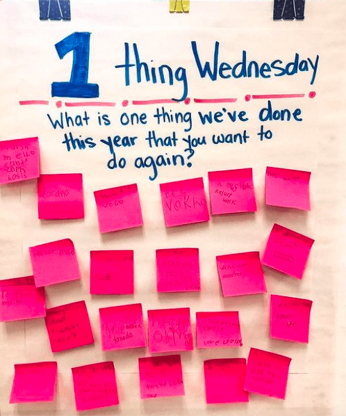 Classroom poster asking kids what is one thing you've done this year that you want to do again