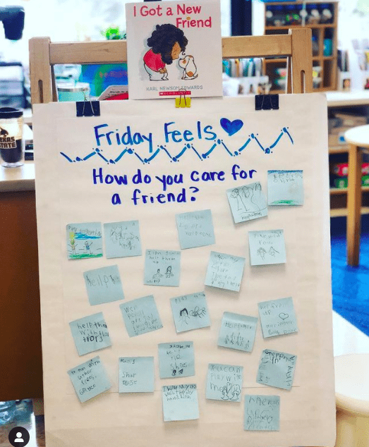 Classroom poster asking kids how do you care for a friend