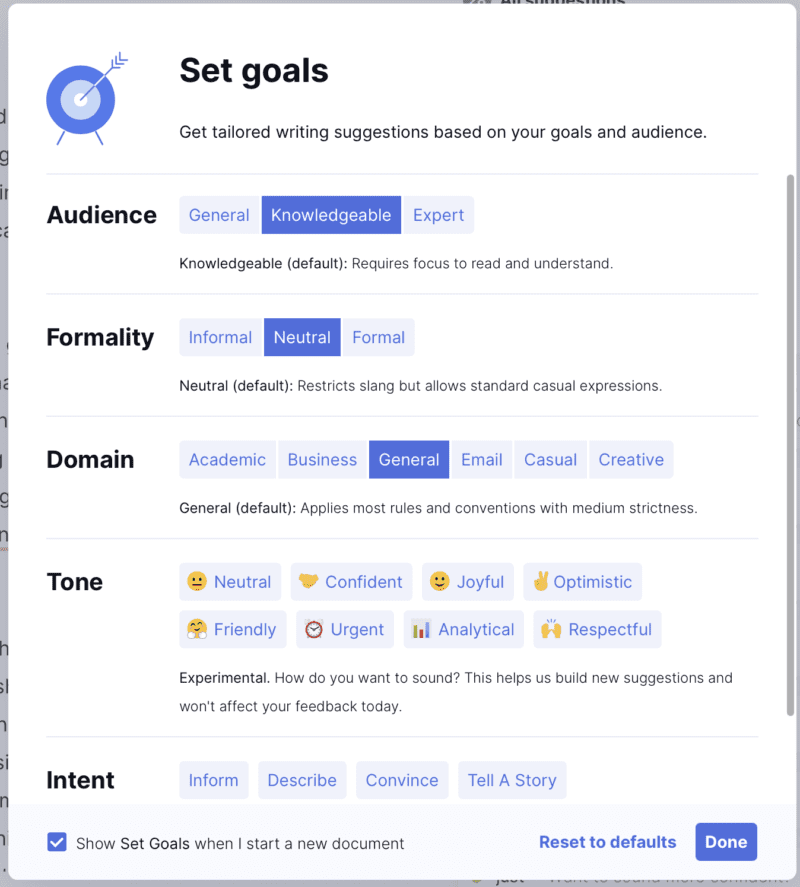 screenshot of Grammarly Premium goal setting suggestions for audience, formality, domain, tone and intent