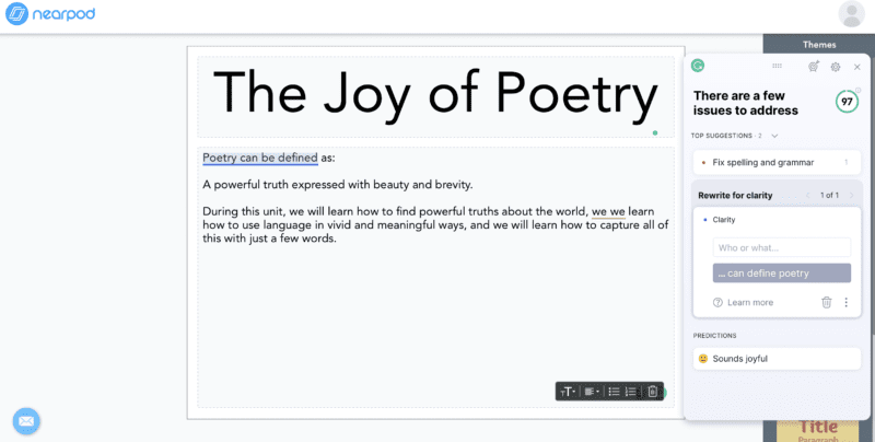 Screenshot of The Joy of Poetry assignment in Nearpod with Grammarly suggestions as an example to help decide: is Grammarly Premium worth it for teachers?