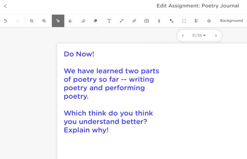 Screenshot of Do Now assignment in Classkick
