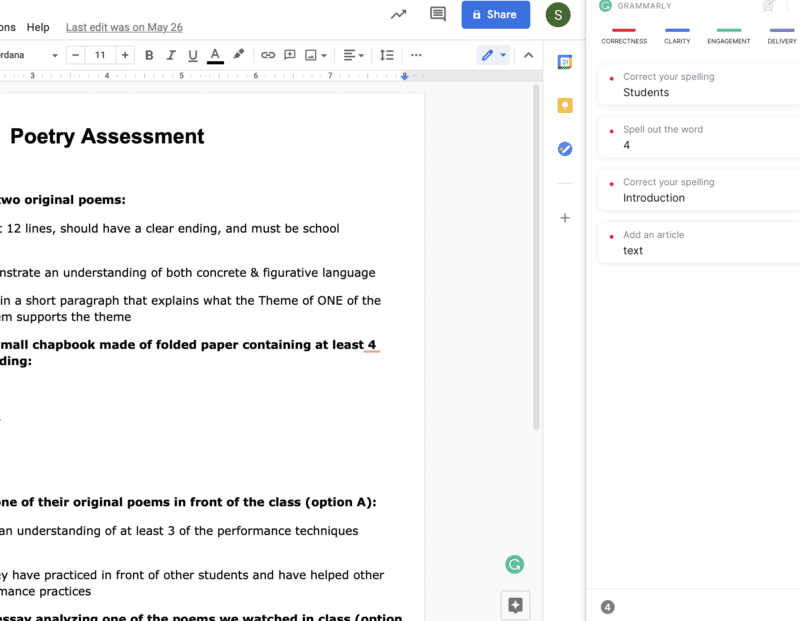 Screenshot of Poetry Assessment with Grammarly suggestions to help decide: is Grammarly Premium worth it for teachers?