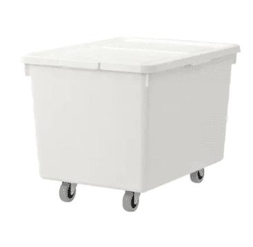 white organization bin with lid on rolling wheels