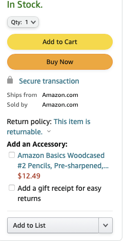 dropdown menu on amazon where user can add items to wish list