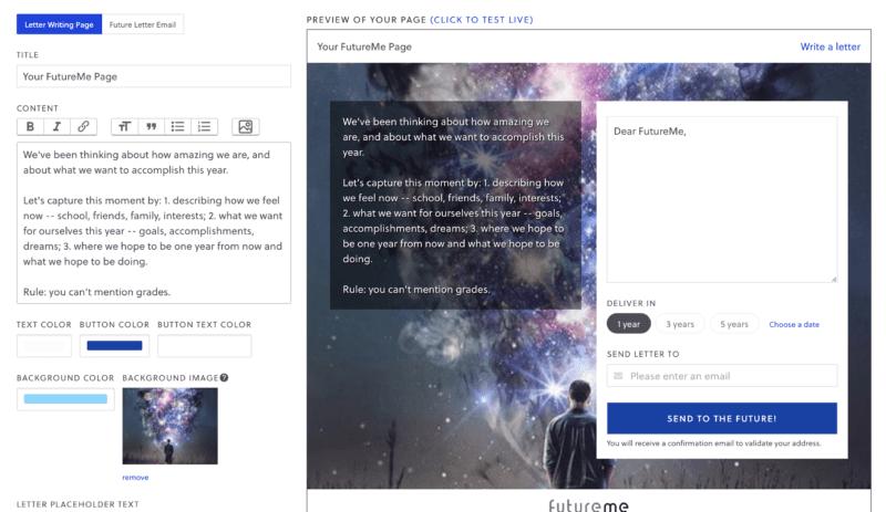 Gelecekteki kendine bir mektup için FutureMe kurulum sayfasının ekran görüntüsü
