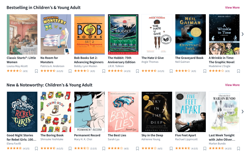 Still of a collection of books students can access on Scribd