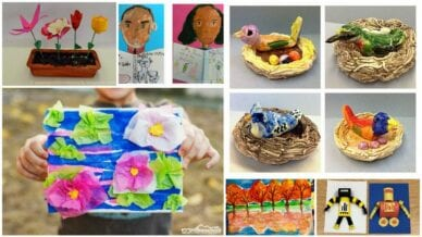 Collage of Second Grade Art Projects