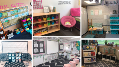 Six separate images of second grade classroom ideas including pink themed.
