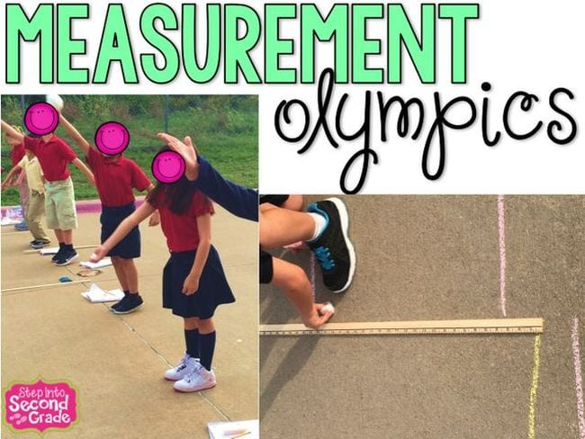 Collage of second grade students participating in measurement activities, with the text Measurement Olympics