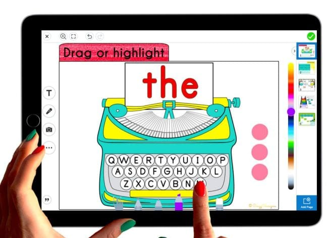 """Seesaw slide showing clickable typewriter with the word """"the"""" shown"""