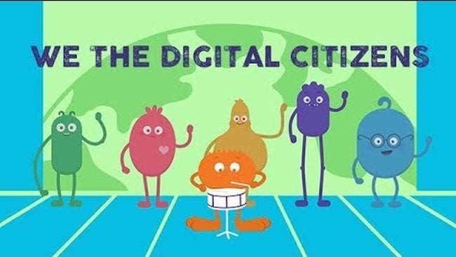 Colorful cartoon characters with caption We The Digital Citizens - Seesaw Activities