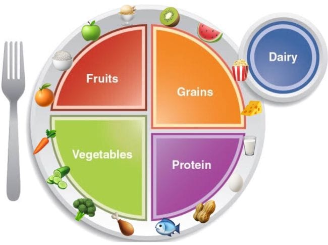 Plate divided into fruits, grains, vegetables, protein with dairy on the side and food icons around the edges